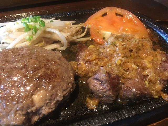 6オンスステーキ+ハンバーグセット